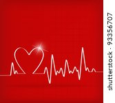 white heart beats cardiogram on ... | Shutterstock .eps vector #93356707