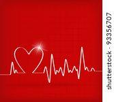 white heart beats cardiogram on ... | Shutterstock .eps vector #93356707