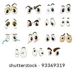 mixed expression illustrations   Shutterstock .eps vector #93369319