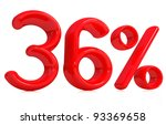 3d red 36 percent on a white... | Shutterstock . vector #93369658