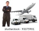 businessman standing against a... | Shutterstock . vector #93375901