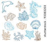marine life doodles   hand...   Shutterstock .eps vector #93383203