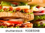 big sandwich with fresh... | Shutterstock . vector #93385048