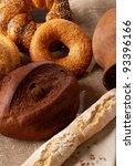 assortment of baked bread on... | Shutterstock . vector #93396166