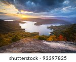 Upstate South Carolina Fall Foliage Lake Jocassee Scenic Autumn Sunset landscape - stock photo