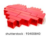 single red heart made of lego... | Shutterstock . vector #93400840