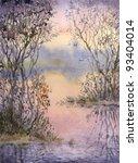 Watercolor Landscape. A Quiet...