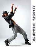 hip hop dancer posing on studio ... | Shutterstock . vector #93409666