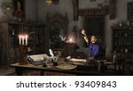 alchemist working in his study... | Shutterstock . vector #93409843