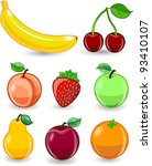 cartoon orange  banana  apples  ... | Shutterstock .eps vector #93410107