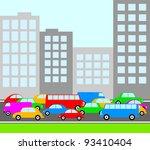 traffic in city | Shutterstock .eps vector #93410404