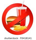fast food danger label. vector...   Shutterstock .eps vector #93418141