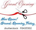 pair of scissors cut red grand... | Shutterstock .eps vector #93435502