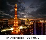 Stock photo las vegas july beautiful sunset on july as seen from the paris hotel l to r 9343873