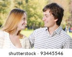 happy young couple embracing... | Shutterstock . vector #93445546