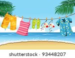 Stock vector a vector illustration of summer clothes drying outdoor 93448207