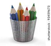 Set Of Color Pencils In Holder...