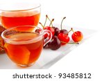 tea and cherry with cakes on... | Shutterstock . vector #93485812