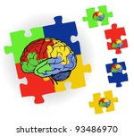 Stock vector brain in puzzle frame for web design 93486970