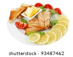 image of grilled salmon with... | Shutterstock . vector #93487462