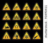 set simple triangular warning...   Shutterstock . vector #93490411