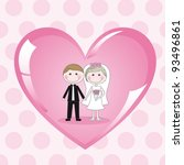 cute image  couple on pink... | Shutterstock .eps vector #93496861