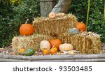 A Fall Display Of Pumpkins On...