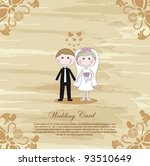 wedding vintage card  cartoon... | Shutterstock .eps vector #93510649