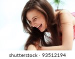 happy woman laughing against... | Shutterstock . vector #93512194