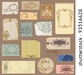 set of old paper with vintage... | Shutterstock .eps vector #93516628