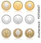 Collection of gold, silver and bronze medals, vector illustration - stock vector