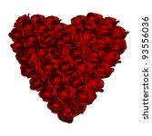 Red Roses Heart Shape.on White...