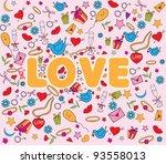 valentine doodles set | Shutterstock .eps vector #93558013