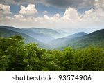Blue Ridge Parkway Scenic Mountains Overlook Summer Landscape Asheville NC at Craggy Gardens in WNC - stock photo