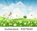 Stock vector summer sunny landscape 93579643