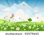 summer sunny landscape | Shutterstock .eps vector #93579643