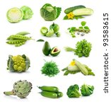 set of fresh green vegetables... | Shutterstock . vector #93583615