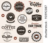 Stock vector set of vintage retro coffee badges and labels 93592387