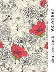 Stock vector seamless floral pattern with red flowers on monochrome background 93592867