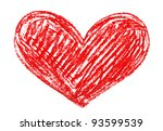 red heart painted in watercolor ... | Shutterstock . vector #93599539