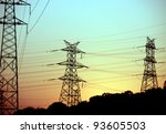high voltage post at sunset. | Shutterstock . vector #93605503