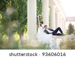 happy couple in columns | Shutterstock . vector #93606016