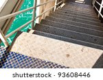 steel stairs of the ferry. and