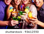 close up of fresh cocktails in... | Shutterstock . vector #93612550