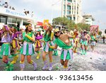 LIMASSOL,CYPRUS-MARCH 6, 2011: Unidentified people in amazonian costumes during the carnival parade, established in 16th century, influenced by Venetian traditions. - stock photo