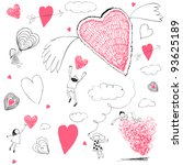Valentines day abstract doodles.