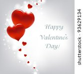 valentines day card with hearts | Shutterstock . vector #93629134