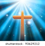 Christian religion cross crucifix bathed in light rays - stock vector