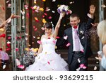 young wedding couple.... | Shutterstock . vector #93629215
