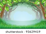 A beautiful woodland scene with trees and grass and space in the centre - stock vector